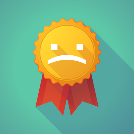 social awareness symbol: Illustration of a long shadow badge icon with a sad text face