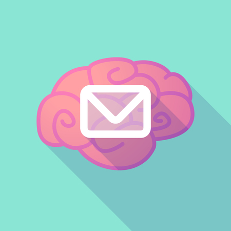 brain illustration: Illustration of a long shadow brain with  an envelope Illustration