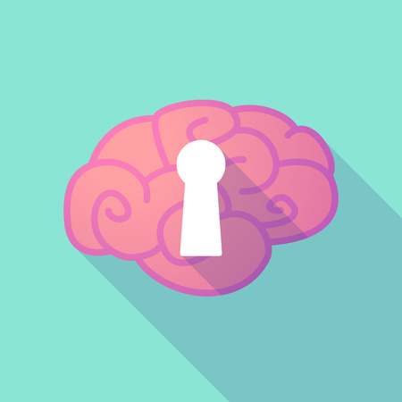 key hole: Illustration of a long shadow brain with  a key hole Illustration