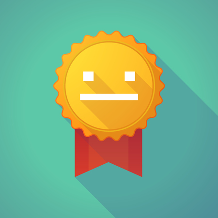 mourn: Illustration of a long shadow badge icon with a emotionless text face Illustration