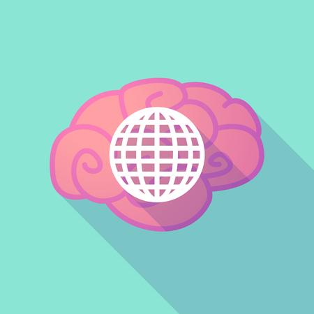 brain illustration: Illustration of a long shadow brain with  a world globe Illustration