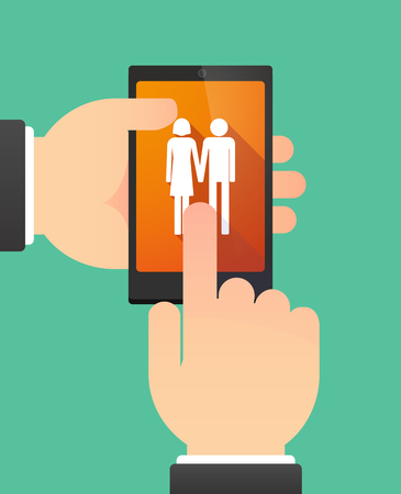 heterosexual couple: Man hands using a phone showing a heterosexual couple pictogram Illustration
