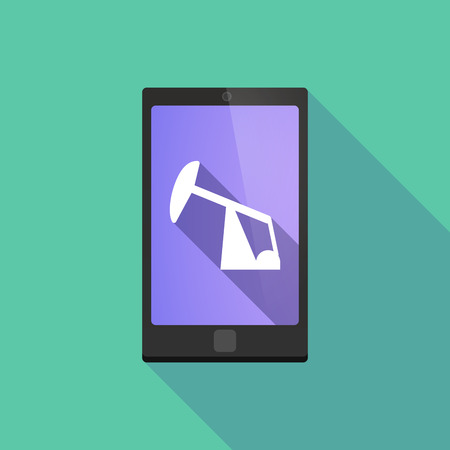 horsehead pump: Illustration of a long shadow phone icon with  a horsehead pump