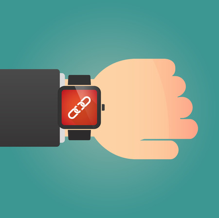broken wrist: Illustration of a isolated smart watch icon with a broken chain Illustration