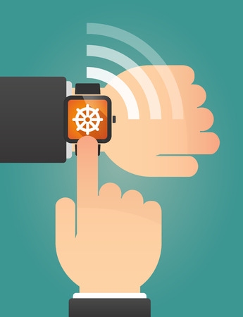 dharma: Illustration of a hand pointing a smart watch with a dharma chakra sign