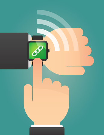 linked hands: Illustration of a hand pointing a smart watch with a chain