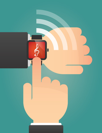 g clef: Illustration of a hand pointing a smart watch with a g clef