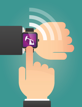 horsehead pump: Illustration of a hand pointing a smart watch with a horsehead pump