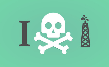 hatred: Illustration of an I dont like hieroglyph with an oil tower