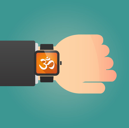 zen aum: Illustration of a isolated smart watch icon with an om sign