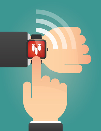 explosive watch: Illustration of a hand pointing a smart watch with three bombs falling Illustration