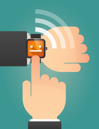 emotionless: Illustration of a hand pointing a smart watch with a emotionless text face Illustration