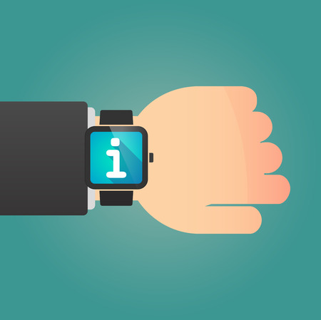 inform information: Illustration of a isolated smart watch icon with an info sign Illustration