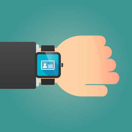 smart card: Illustration of a isolated smart watch icon with an id card