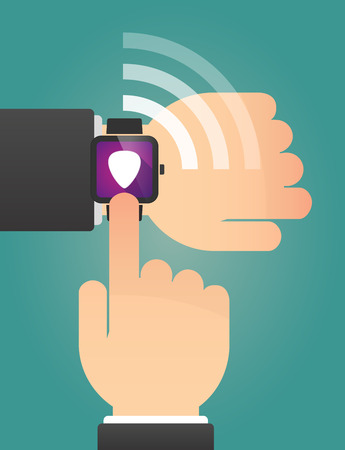 plectrum: Illustration of a hand pointing a smart watch with a plectrum
