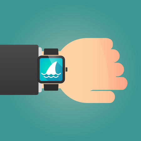 fin: Illustration of a isolated smart watch icon with a shark fin