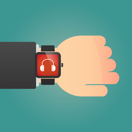 ear phones: Illustration of a isolated smart watch icon with a earphones