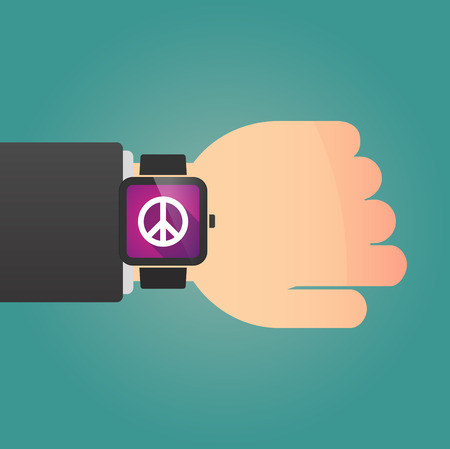 pacifist: Illustration of a isolated smart watch icon with a peace sign