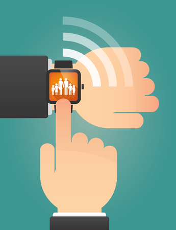 large family: Illustration of a hand pointing a smart watch with a large family  pictogram