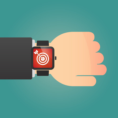 smart goals: Illustration of a isolated smart watch icon with a dart board Illustration