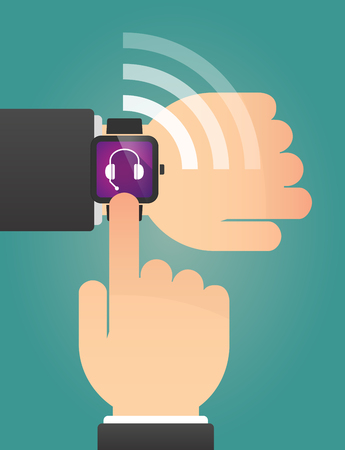 hands free device: Illustration of a hand pointing a smart watch with  a hands free phone device
