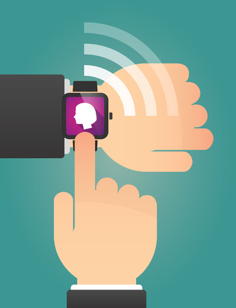 human hand: Illustration of a hand pointing a smart watch with a female head