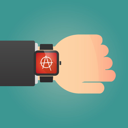 anarchist: Illustration of a isolated smart watch icon with an anarchy sign