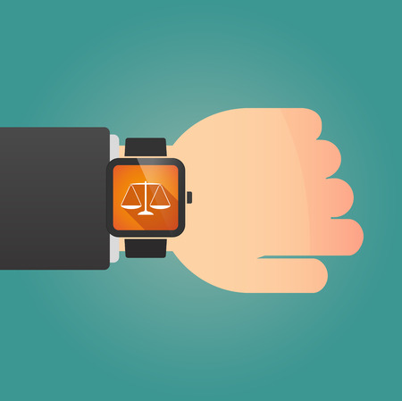 trial balance: Illustration of a isolated smart watch icon with a justice weight scale sign Illustration