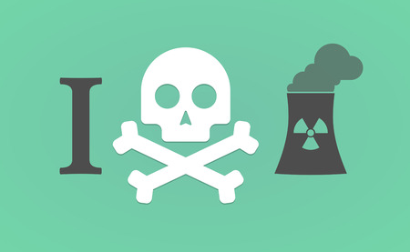 no nuclear: Illustration of an I dont like hieroglyph with a nuclear power station