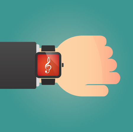 g clef: Illustration of a isolated smart watch icon with a g clef Illustration