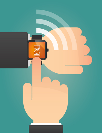 sand watch: Illustration of a hand pointing a smart watch with a sand clock Illustration