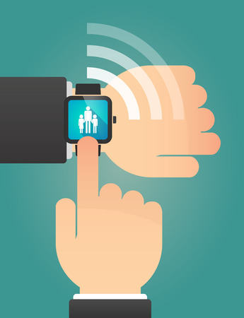 single parent: Illustration of a hand pointing a smart watch with a male single parent family pictogram