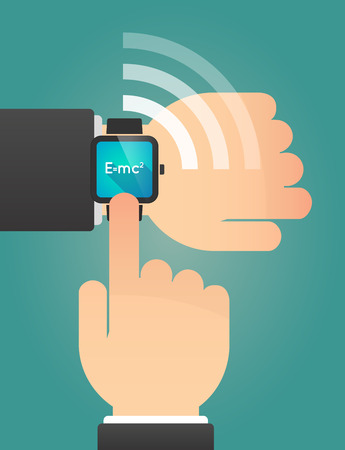 relativity: Illustration of a hand pointing a smart watch with the Theory of Relativity formula Illustration