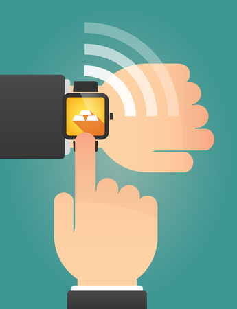 gold watch: Illustration of a hand pointing a smart watch with three gold bullions