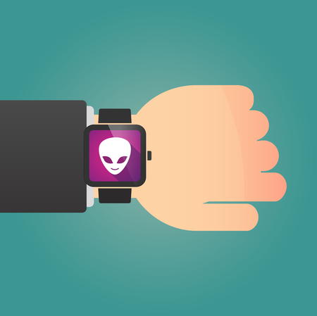 alien face: Illustration of a isolated smart watch icon with an alien face