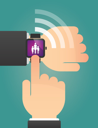 single family: Illustration of a hand pointing a smart watch with a female single parent family pictogram Illustration