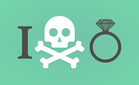 i like: Illustration of an I dont like hieroglyph with an engagement ring