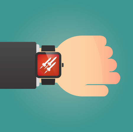 explosive watch: Illustration of a isolated smart watch icon with missiles Illustration