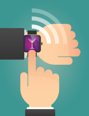 watch glass: Illustration of a hand pointing a smart watch with a cocktail glass