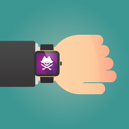 skull with crossed bones: Illustration of a man showing a smart watch with a pirate skull