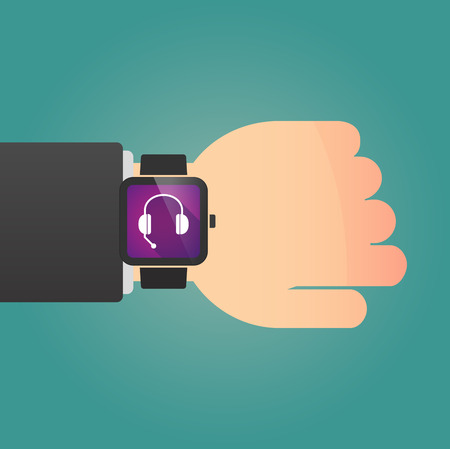 hands free phone: Illustration of a man showing a smart watch with  a hands free phone device