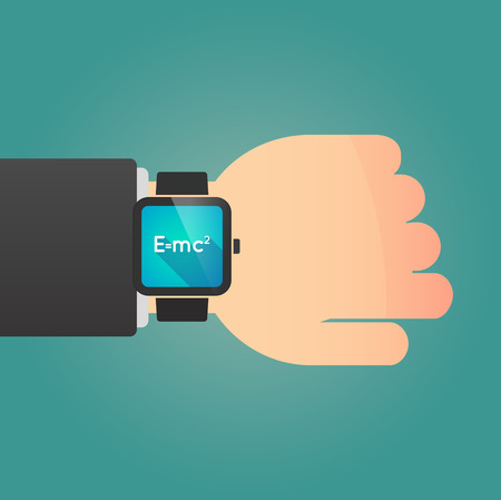 relativity: Illustration of a man showing a smart watch with the Theory of Relativity formula Illustration