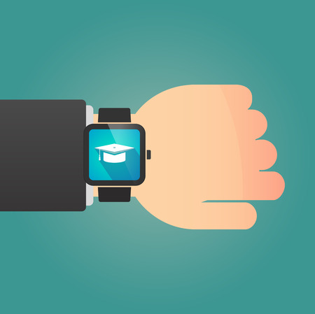Illustration of a man showing a smart watch with a graduation cap