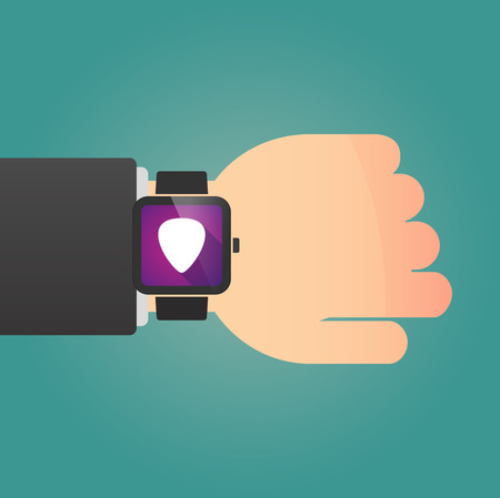 plectrum: Illustration of a man showing a smart watch with a plectrum Illustration