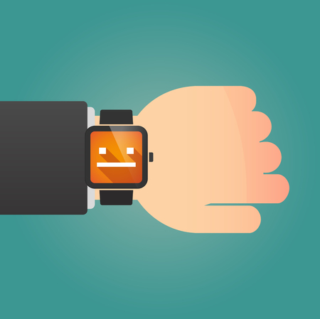 emotionless: Illustration of a man showing a smart watch with a emotionless text face