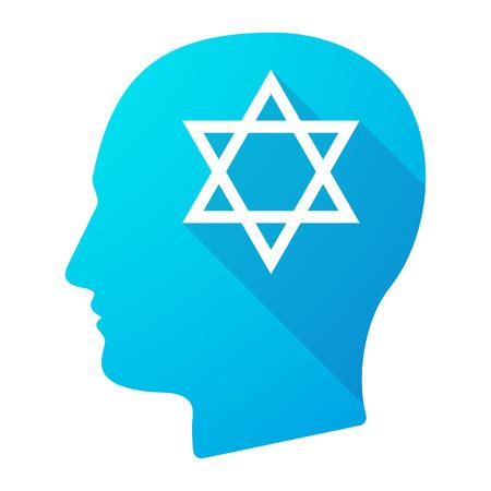 david star: Illustration of a male head icon with a David star Illustration
