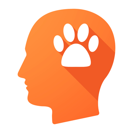 adult footprint: Illustration of a male head icon with an animal footprint