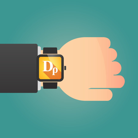 wrist: Illustration of a man showing a smart watch with a drachma currency sign Illustration