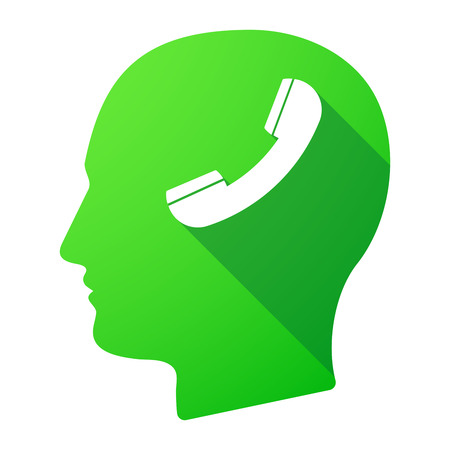 head phone: Illustration of a male head icon with a phone Illustration