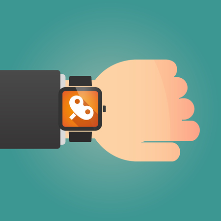 crank: Illustration of a man showing a smart watch with a toy crank
